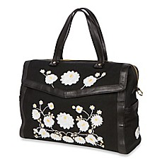 image of The Bumble Collection™ Embossed Flora Satchel Diaper Bag in Black