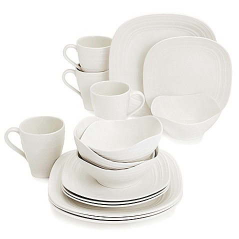 Mikasau0026reg; Swirl Square White 16-Piece Dinnerware Set  sc 1 st  Bed Bath u0026 Beyond & Mikasa® Swirl Square White 16-Piece Dinnerware Set - Bed Bath u0026 Beyond