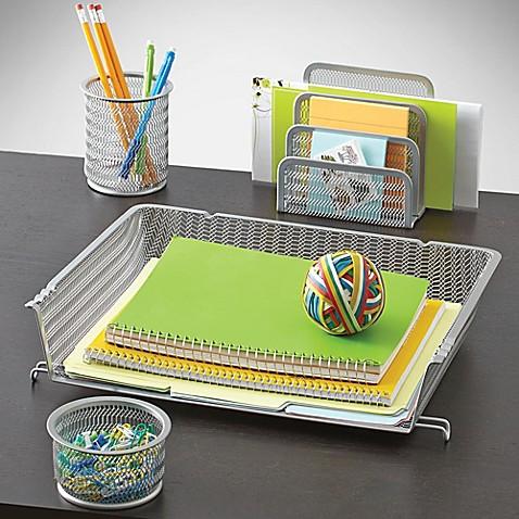 Mesh desk organizer 4 piece set bed bath beyond - Desk set organizer ...