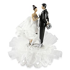 image of Ivy Lane Design Ty Wilson Caucasian Couple White Dress Cake Topper