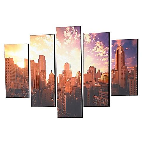 good morning new york 5 piece canvas wall art bed bath. Black Bedroom Furniture Sets. Home Design Ideas