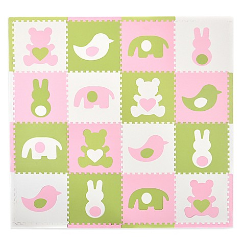 Tadpoles™ by Sleeping Partners Teddy & Friends 16-Piece Playmat Set in Pink/White/Green