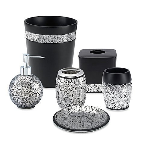 Black crackle bath ensemble bed bath beyond for Silver crackle glass bathroom accessories