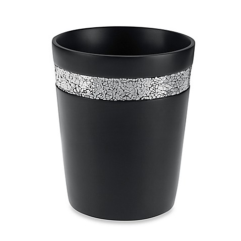 Black crackle wastebasket bed bath beyond for Black crackle bathroom accessories
