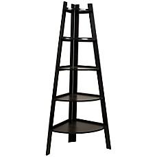 Image Of Wood Tiered Corner Ladder Bookcase Display In Espresso