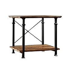 image of Verona Home Wood and Metal Parkway End Table in Brown