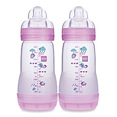 image of MAM 2-Pack 9 oz. Anti-Colic Bottle in Girl
