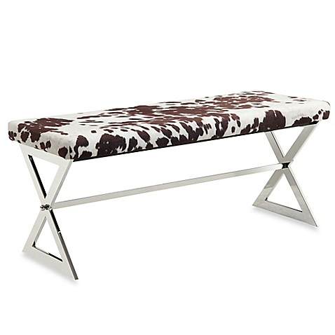 Buy Verona Home Iriona Chrome X Base Bench In Cowhide Print Fabric From Bed Bath Beyond