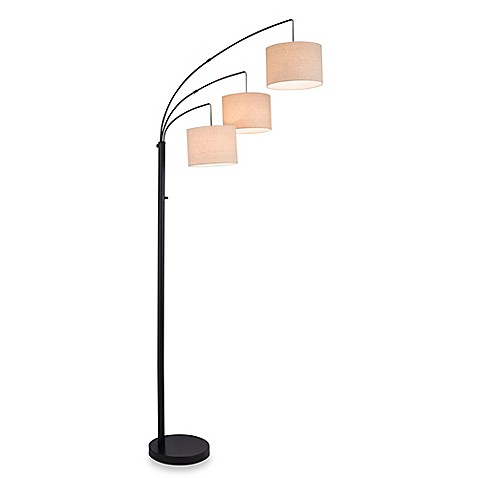 adesso 3 arc floor lamp in satin steel with white crinkle pape. Black Bedroom Furniture Sets. Home Design Ideas