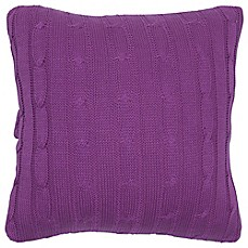 image of Rachel Kate Jealla Girl Cable Knit Sweater 18-Inch Square Throw Pillow in Rasberry