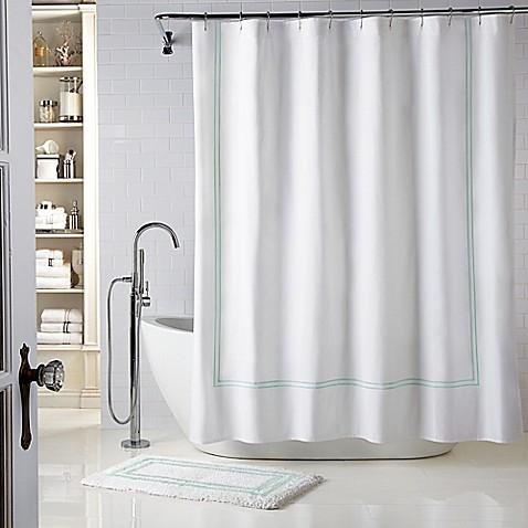 Buy Wamsutta Baratta Stitch 72 Inch X 84 Inch Shower Curtain In White Seaglass From Bed Bath