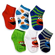 image of 6-Pack Elmo Boys Quarter Socks in Assorted Designs