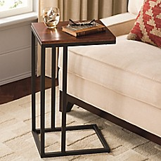 image of Black and Tan Hamilton Narrow Wood Top C Table