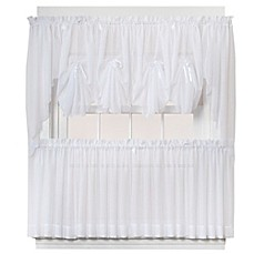Emelia Sheer Window Curtain Panel And Valance In White