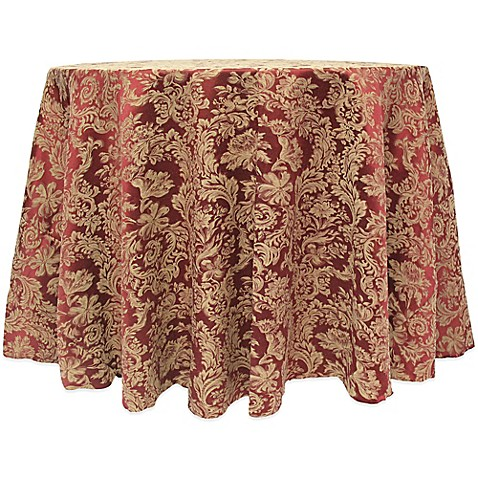 Buy Miranda Damask 90 Inch Round Tablecloth In Bordeaux