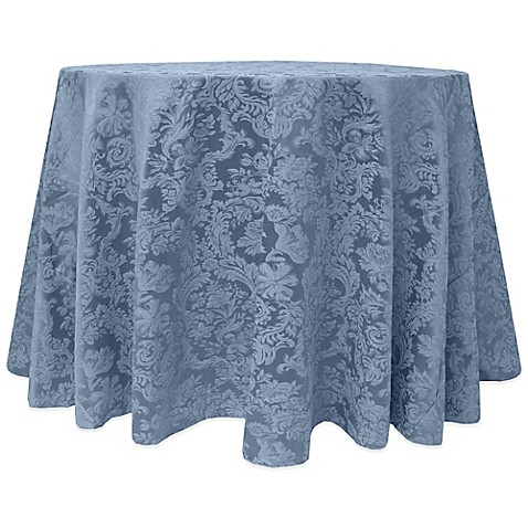 Buy Miranda Damask 90 Inch Round Tablecloth In Slate Blue