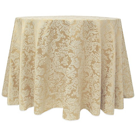 Buy miranda damask 120 inch round tablecloth in champagne for 120 inch round table cloths