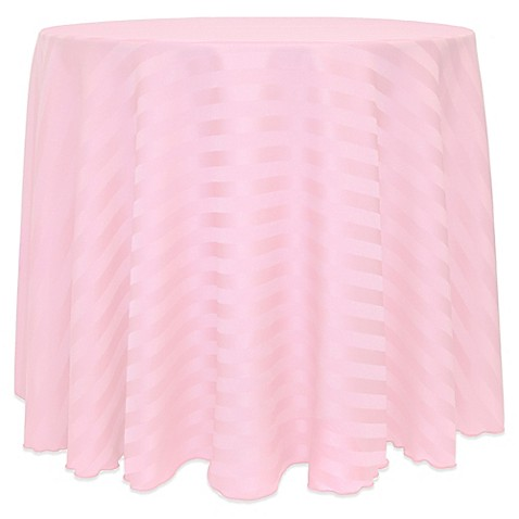 Buy poly stripe 108 inch round tablecloth in light pink for 108 inch round table cloth