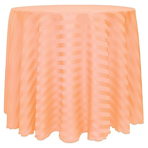 Buy poly stripe 120 inch round tablecloth in peach from for 120 inch round table cloths
