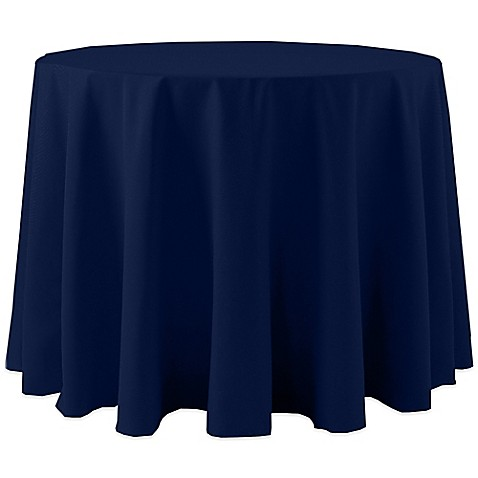 Buy spun polyester 108 inch round tablecloth in navy from for 108 inch round table cloth