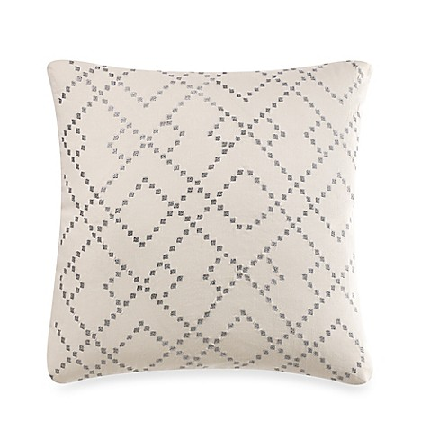 Linen Modern Geometric Square Throw Pillow in Silver - Bed Bath & Beyond