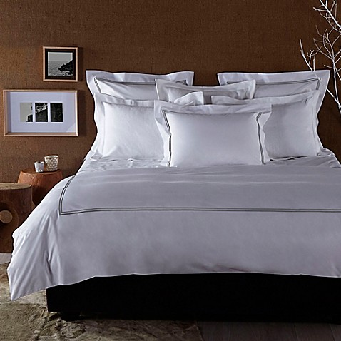Frette At Home Piave Pillow Sham in White/Grey