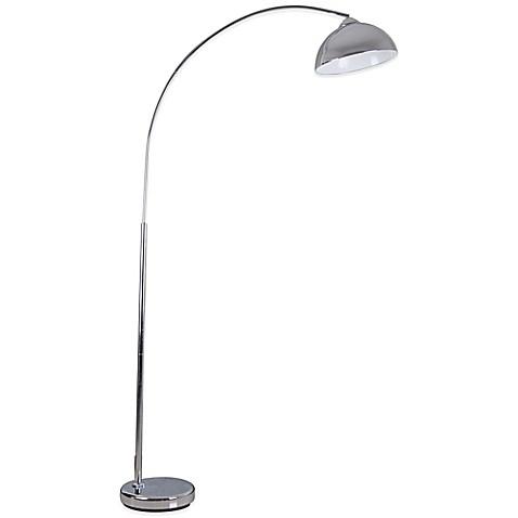 illuminada over the sofa arc floor lamp in chrome bed bath beyond. Black Bedroom Furniture Sets. Home Design Ideas