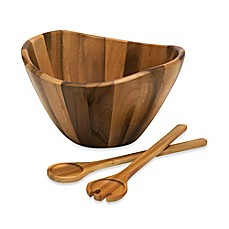 image of Lipper International 3-Piece Acacia Wave Bowl with Servers