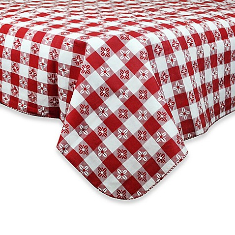 buy checkered 52 inch x 90 inch peva tablecloth in red