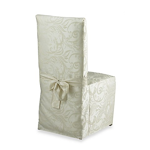 buy autumn scroll damask dining room chair cover in ivory
