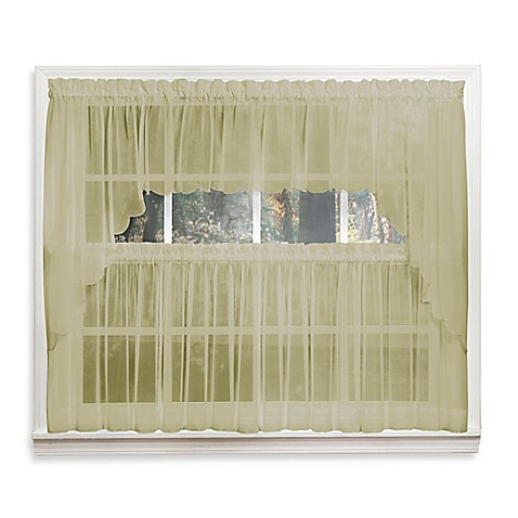 Emelia 14 inch sheer window valance in leaf bed bath for 14 inch window
