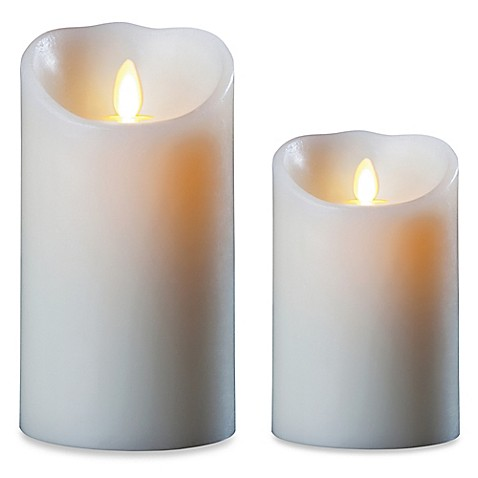 Luminara 174 Real Flame Effect Pillar Candle In Ivory Bed