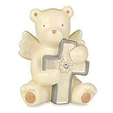 image of Grasslands Road® Bear Angel with October Opal-Colored Glass Birthstone Cross