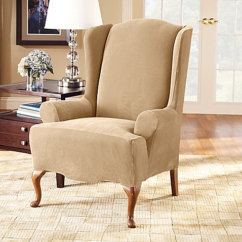 Sure Fit 174 Stretch Pique Wing Chair Slipcover Bed Bath