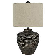 image of angelo:HOME Danbury Table Lamp in Brown with Dark Linen Shade
