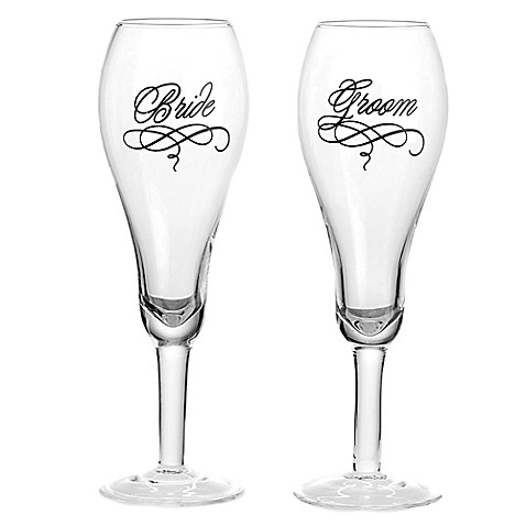 Bed Bath And Beyond Bride Groom Toasting Glasses