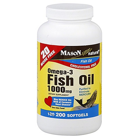 Mason omega 3 200 count 1000 mg fish oil softgels bed for Fish oil for add