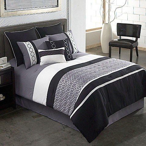 covington 8piece comforter set in greyblack