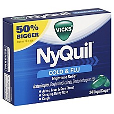 image of Vicks® NyQuil® 24-Count Cold and Flu Nightime Relief Liquicaps®