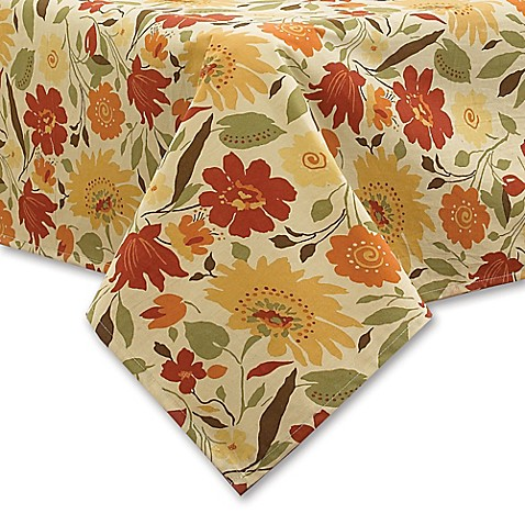 Blooms Laminated Fabric Tablecloth In Brick