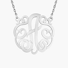 image of Alison & Ivy Sterling Silver 18-Inch Chain Ribbon Letter Necklace