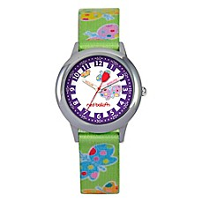 image of Red Balloon Children's 30mm Butterflies Watch in Stainless Steel with Green Printed Strap