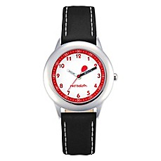 image of Red Balloon Children's 30mm Time Teacher Watch in Stainless Steel with Black Leather Strap