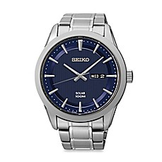 image of Seiko Men's Solar Watch in Stainless Steel with Blue Dial