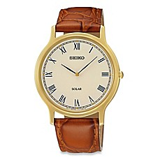 image of Seiko Men's Solar Watch in Goldtone Stainless Steel with Brown Leather Wrist Strap
