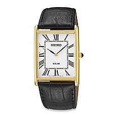 image of Seiko Men's Goldtone Square Solar Watch with Leather Wrist Strap