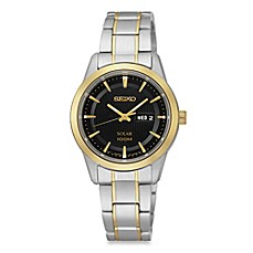 image of Seiko Ladies' Two-Tone Stainless Steel Solar Dress Watch in Stainless Steel