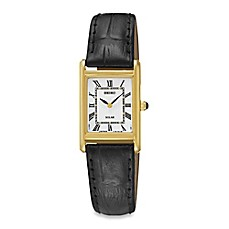 image of Seiko Ladies' Square Solar Watch in Goldtone Stainless Steel with Black Leather Wrist Strap