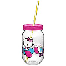 image of Zak! Designs® Hello Kitty® 19-Ounce Tritan Canning Jar Tumbler with Straw