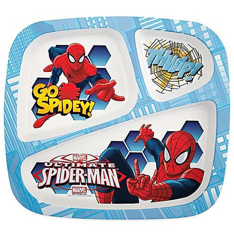 Zak Designs 174 Spiderman Divided Kid S Dinner Plate